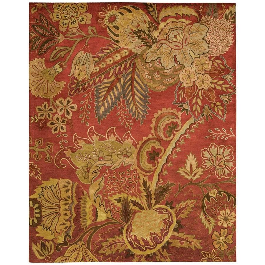 Nourison Jaipur Flame Rectangular Indoor Handcrafted Area Rug (Common: 9 x 13; Actual: 9.5-ft W x 13.5-ft L x 0.75-ft dia)