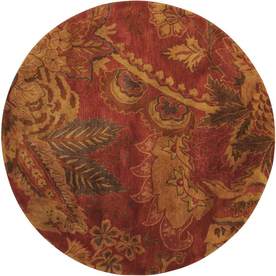 Nourison Jaipur Flame Round Indoor Handcrafted Area Rug (Common: 6 x 6; Actual: 6-ft W x 6-ft L x 0.75-ft dia)