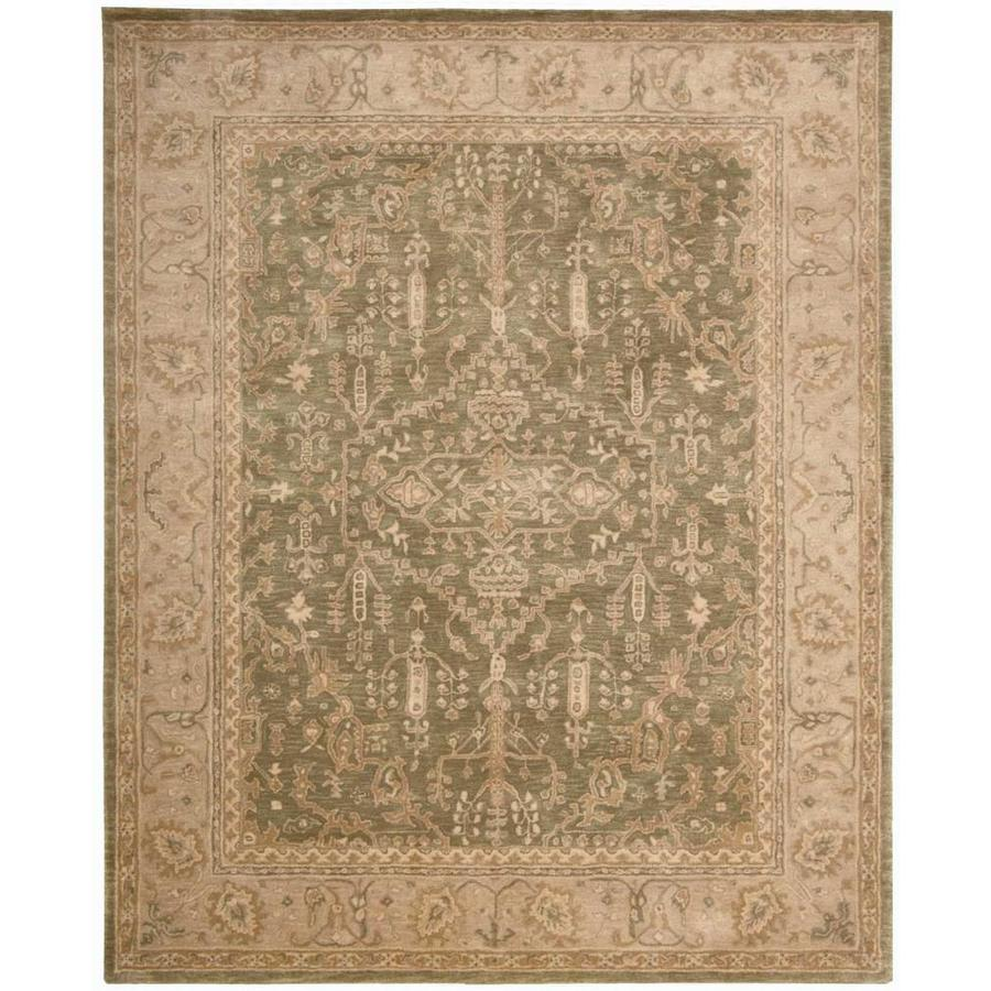 Nourison Jaipur Kiwi Rectangular Indoor Handcrafted Area Rug (Common: 9 x 13; Actual: 9.5-ft W x 13.5-ft L x 0.75-ft dia)