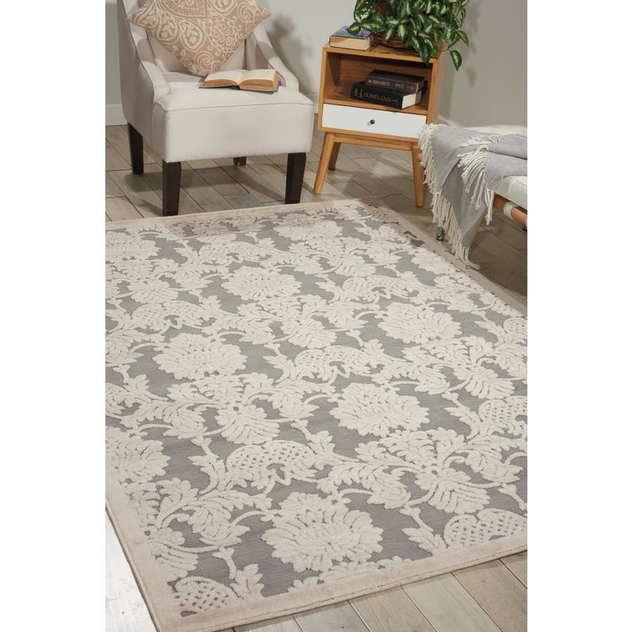 Nourison Graphic Illusions Nickel Rectangular Indoor Area Rug (Common: 2 x 4; Actual: 2.25-ft W x 3.75-ft L x 0.5-ft dia)
