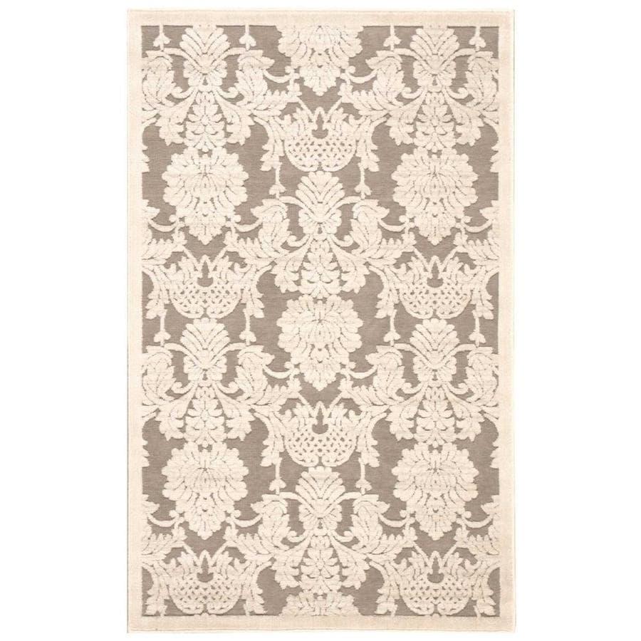 Nourison Graphic Illusions Nickel Rectangular Indoor Area Rug (Common: 3 x 5; Actual: 3.5-ft W x 5.5-ft L x 0.5-ft dia)