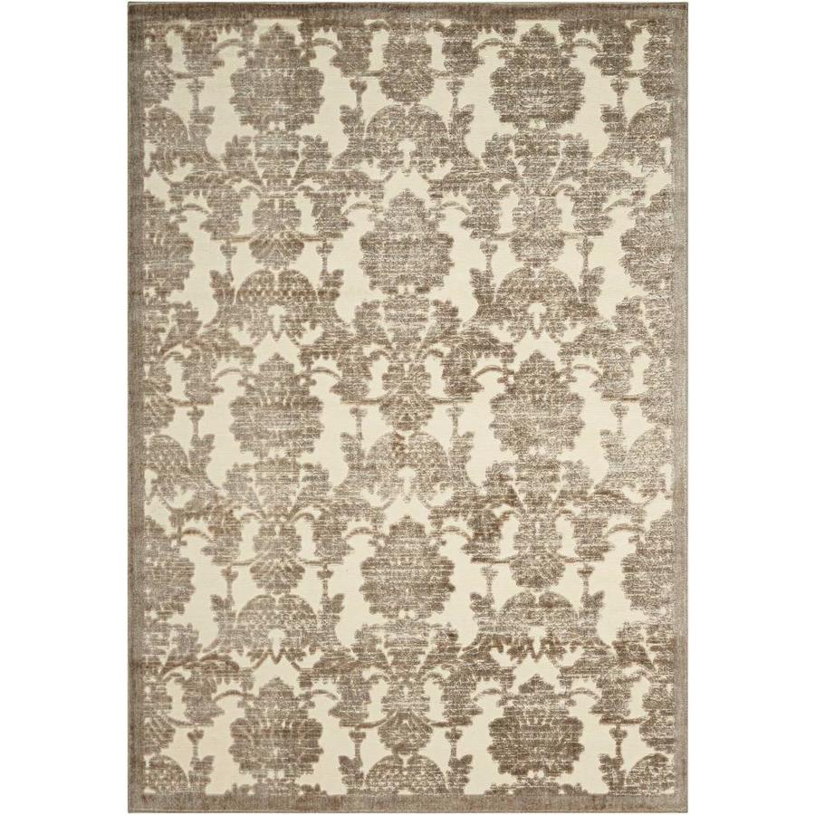 Nourison Graphic Illusions Ivory/Latte Indoor Area Rug (Common: 5 x 7; Actual: 5.25-ft W x 7.42-ft L x 0.5-ft dia)