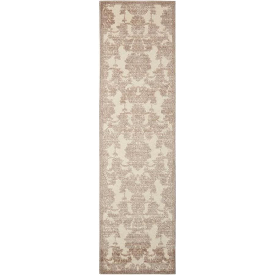 Nourison Graphic Illusions Ivory/Latte Indoor Area Rug (Common: 2 x 7; Actual: 2.25-ft W x 8-ft L x 0.5-ft dia)