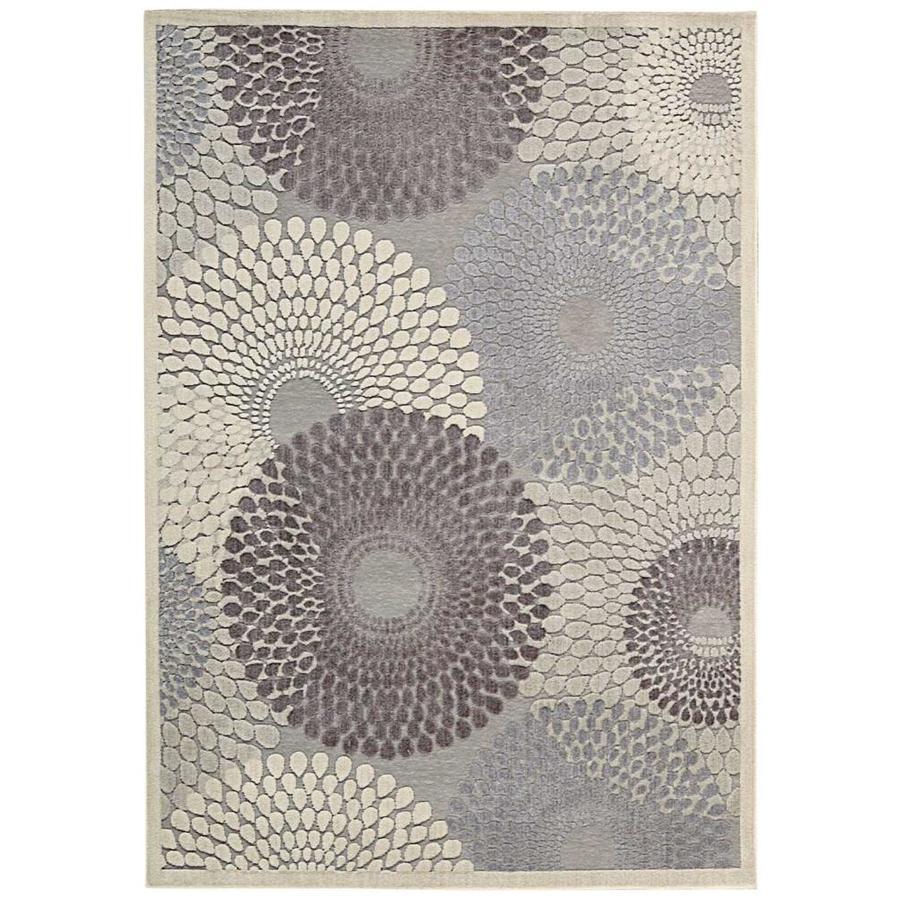 Nourison Graphic Illusions Gray Indoor Area Rug (Common: 5 x 7; Actual: 5.25-ft W x 7.42-ft L x 0.5-ft dia)