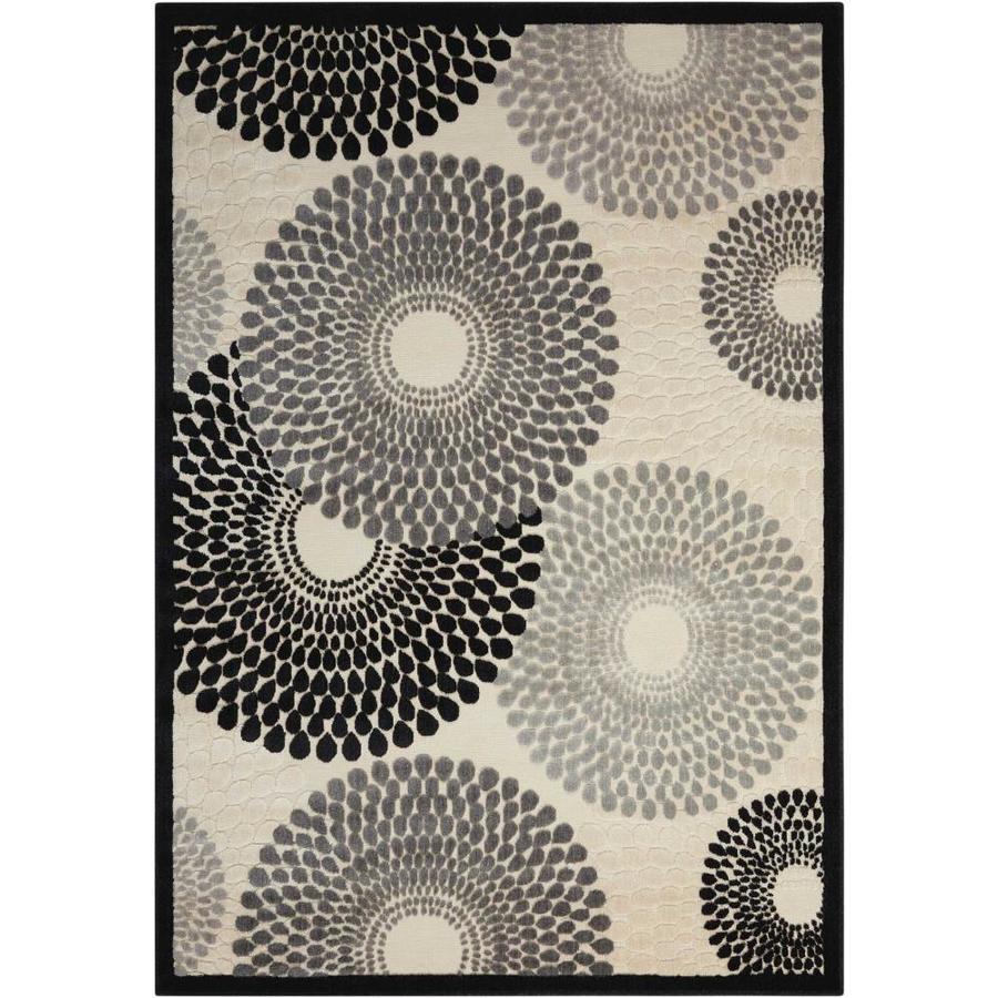 Nourison Graphic Illusions Parchment Rectangular Indoor Area Rug (Common: 5 x 7; Actual: 5.25-ft W x 7.42-ft L x 0.5-ft dia)
