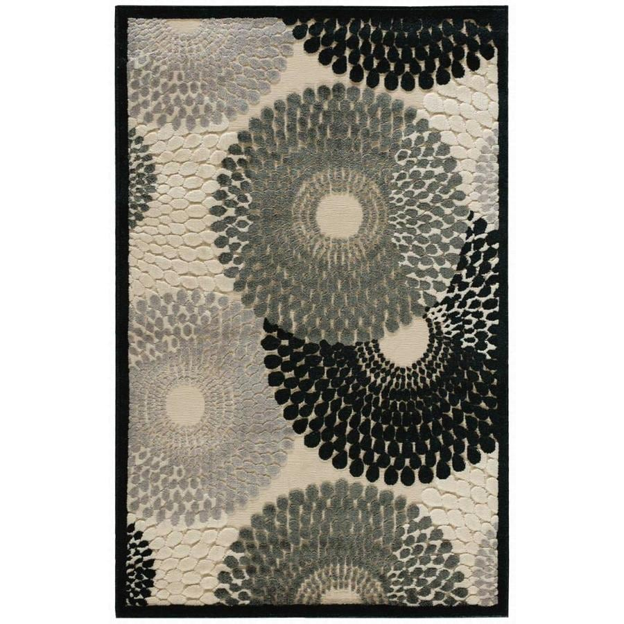 Nourison Graphic Illusions Parchment Rectangular Indoor Area Rug (Common: 3 x 5; Actual: 3.5-ft W x 5.5-ft L x 0.5-ft dia)