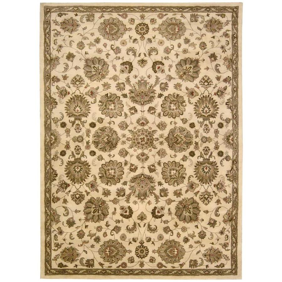 Nourison Jaipur Ivory Rectangular Indoor Handcrafted Area Rug (Common: 9 x 13; Actual: 9.5-ft W x 13.5-ft L x 0.75-ft dia)