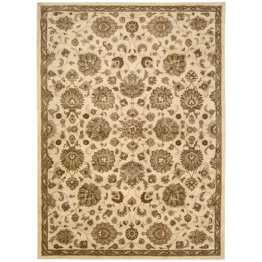 Nourison Jaipur Ivory Rectangular Indoor Handcrafted Area Rug (Common: 8 x 11; Actual: 8.25-ft W x 11.5-ft L x 0.75-ft dia)