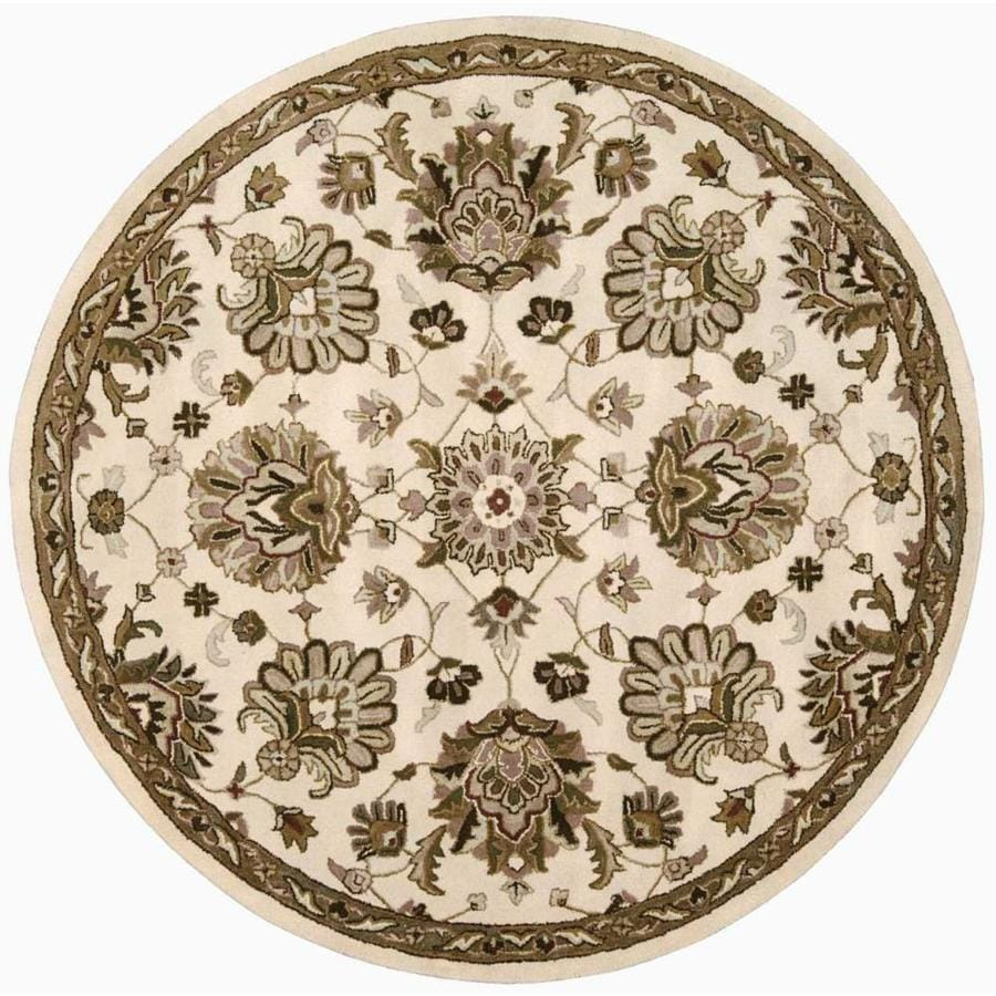 Nourison Jaipur Ivory Round Indoor Handcrafted Area Rug (Common: 8 x 8; Actual: 8-ft W x 8-ft L x 0.75-ft dia)
