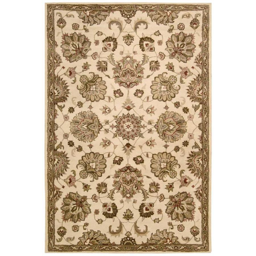 Nourison Jaipur Ivory Rectangular Indoor Handcrafted Area Rug (Common: 5 x 7; Actual: 5.5-ft W x 8.5-ft L x 0.75-ft dia)