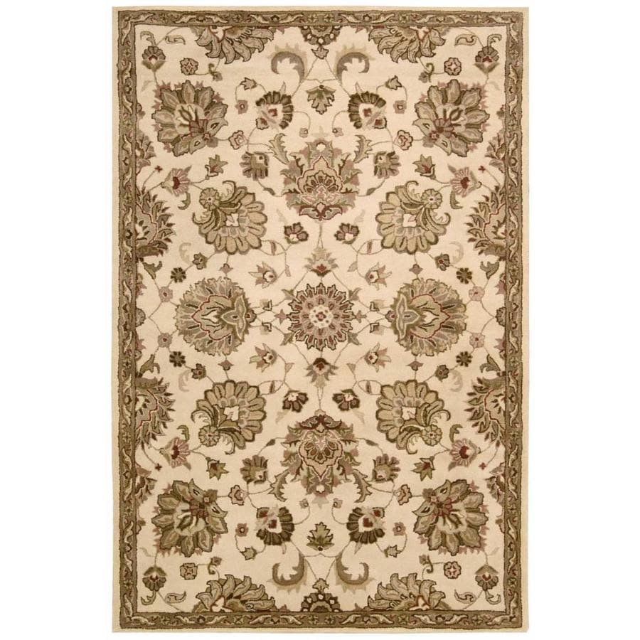 Nourison Jaipur Ivory Indoor Handcrafted Area Rug (Common: 3 x 5; Actual: 3.75-ft W x 5.75-ft L x 0.75-ft dia)
