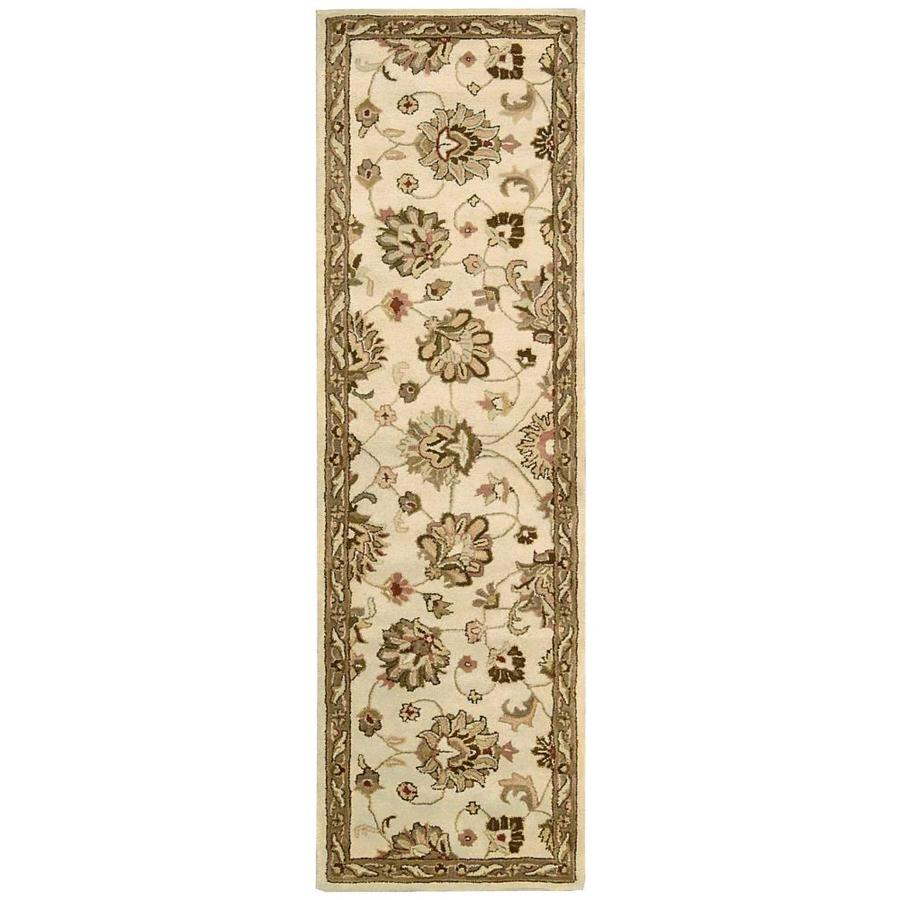 Nourison Jaipur Ivory Rectangular Indoor Handcrafted Area Rug (Common: 2 x 8; Actual: 2.25-ft W x 8-ft L x 0.75-ft dia)