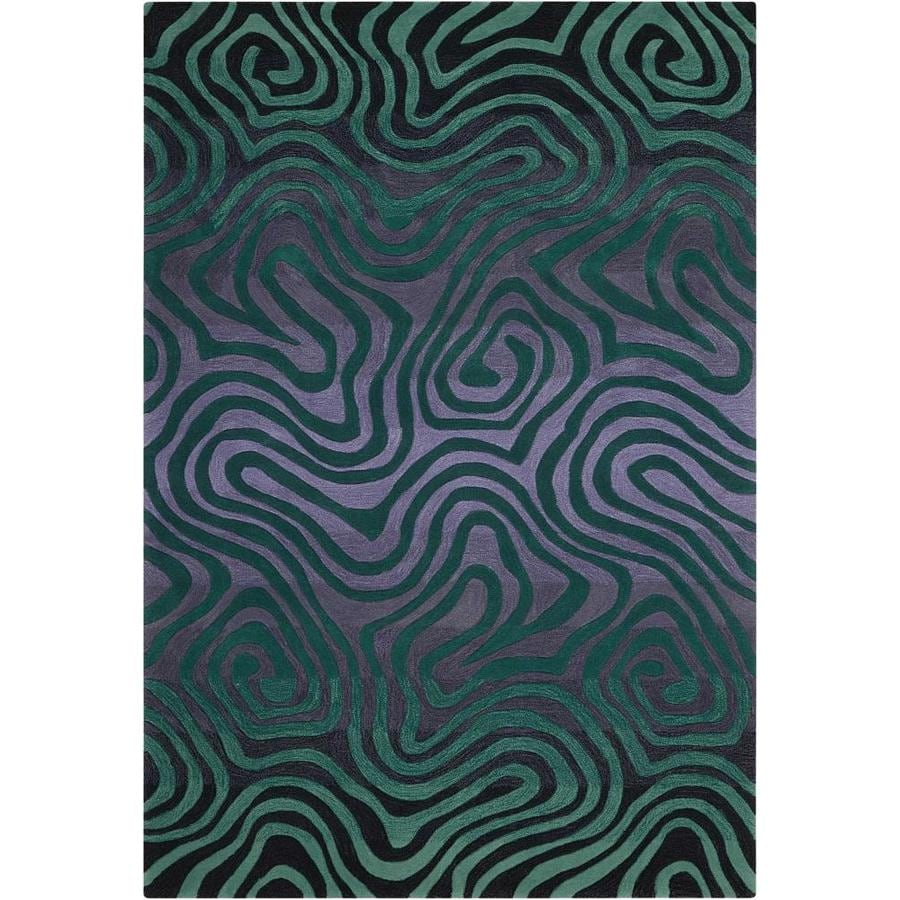 Nourison Contour Smoke Teal Rectangular Indoor Handcrafted Area Rug (Common: 5 x 7; Actual: 5-ft W x 7.5-ft L x 0.5-ft dia)