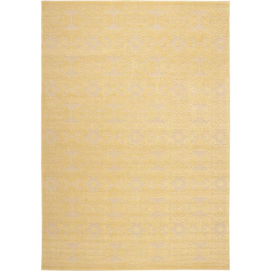 Nourison Graphic Illusions Yellow 605 Rectangular Indoor Area Rug (Common: 5 x 7; Actual: 5.25-ft W x 7.42-ft L x 0.5-ft dia)