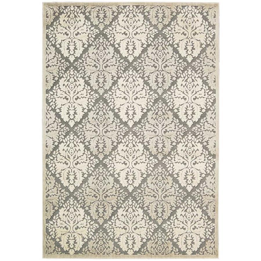 Nourison Graphic Illusions Ivory Rectangular Indoor Area Rug (Common: 5 x 7; Actual: 5.25-ft W x 7.42-ft L x 0.5-ft dia)