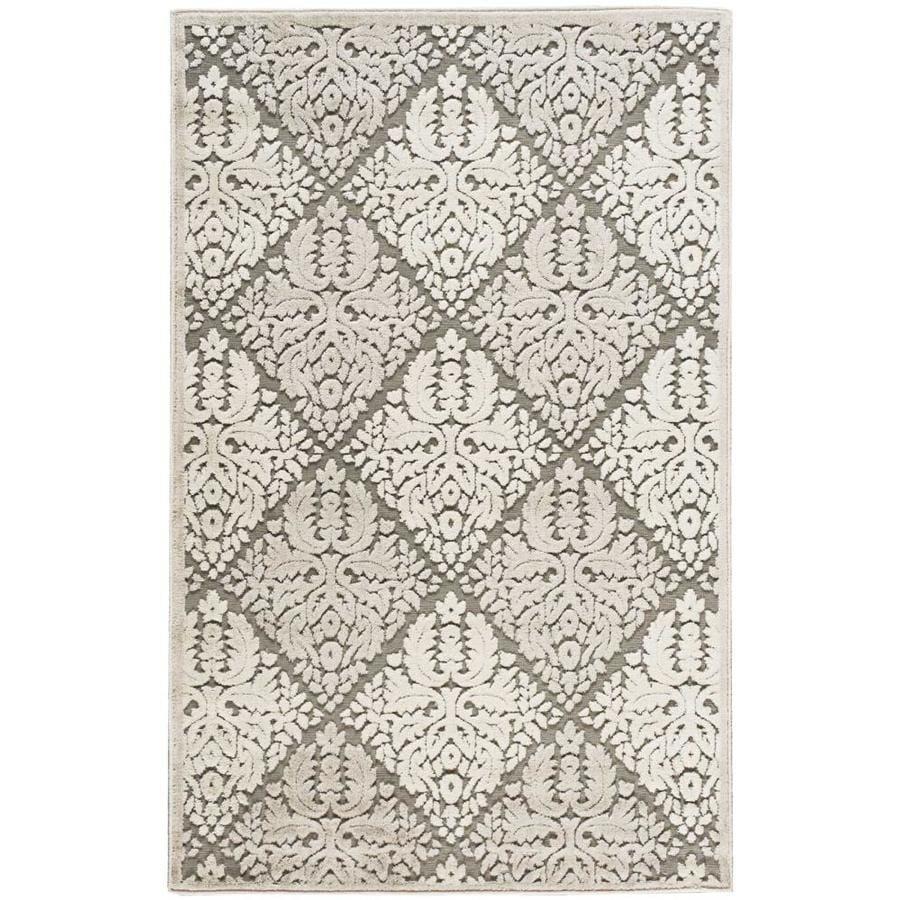 Nourison Graphic Illusions Ivory Rectangular Indoor Area Rug (Common: 3 x 5; Actual: 3.5-ft W x 5.5-ft L x 0.5-ft dia)