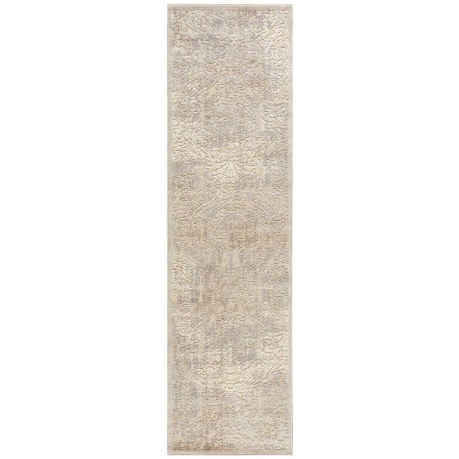 Nourison Graphic Illusions Ivory Rectangular Indoor Area Rug (Common: 2 x 7; Actual: 2.25-ft W x 8-ft L x 0.5-ft dia)