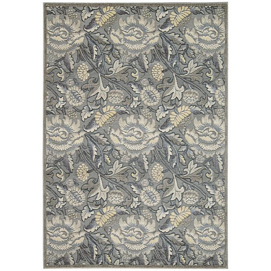Nourison Graphic Illusions Grey Rectangular Indoor Area Rug (Common: 2 x 4; Actual: 2.25-ft W x 3.75-ft L x 0.5-ft dia)