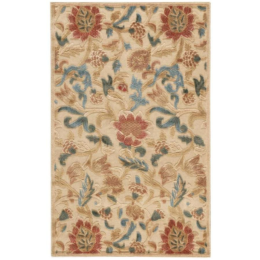 Nourison Graphic Illusions Light Gold Indoor Area Rug (Common: 2 x 4; Actual: 2.25-ft W x 3.75-ft L x 0.5-ft dia)