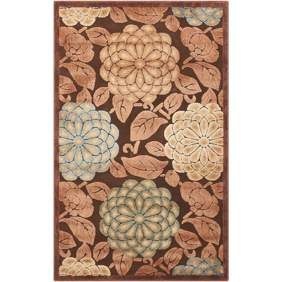 Nourison Graphic Illusions Brown Rectangular Indoor Area Rug (Common: 3 x 5; Actual: 3.5-ft W x 5.5-ft L x 0.5-ft dia)