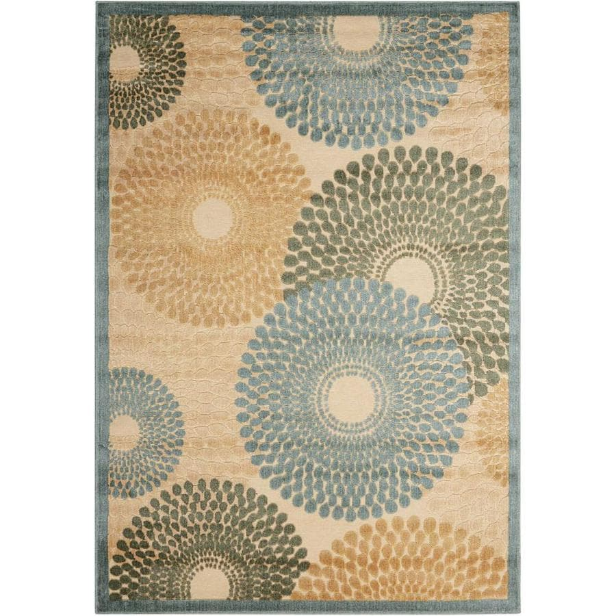 Nourison Graphic Illusions Teal Area Rug (Common: 2 x 4; Actual: 2.25-ft W x 3.75-ft L)