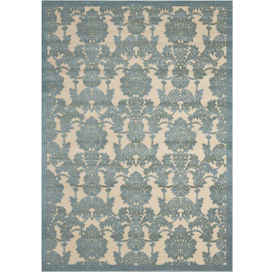 Nourison Graphic Illusions TEAL Indoor Area Rug (Common: 8