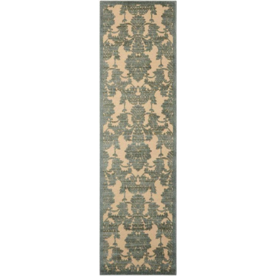 Nourison Graphic Illusions Teal Rectangular Indoor Area Rug (Common: 2 x 7; Actual: 2.25-ft W x 8-ft L x 0.5-ft dia)