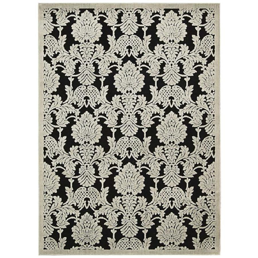 Nourison Graphic Illusions Black Indoor Area Rug (Common: 3 x 5; Actual: 3.5-ft W x 5.5-ft L x 0.5-ft dia)
