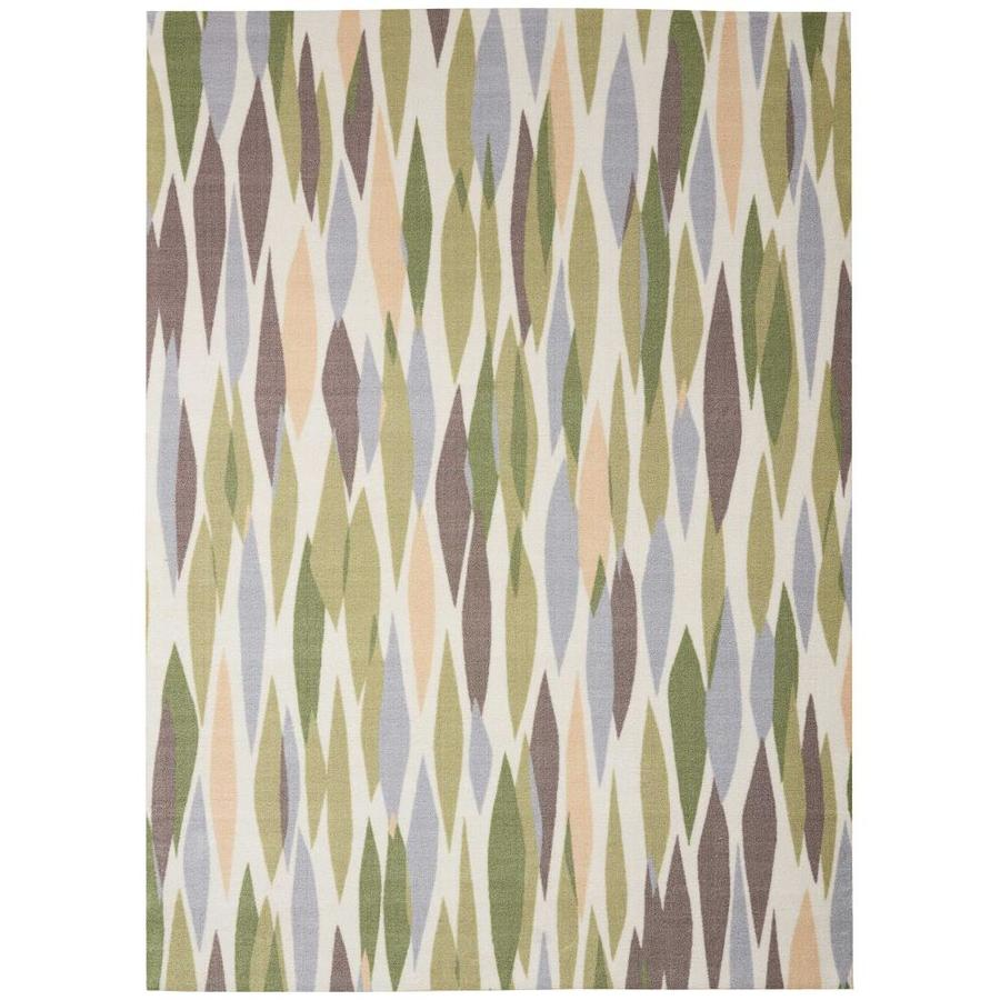 Waverly Sun and Shade Violet Rectangular Indoor/Outdoor Machine-Made Area Rug (Common: 7 x 10; Actual: 93-in W x 130-in L)