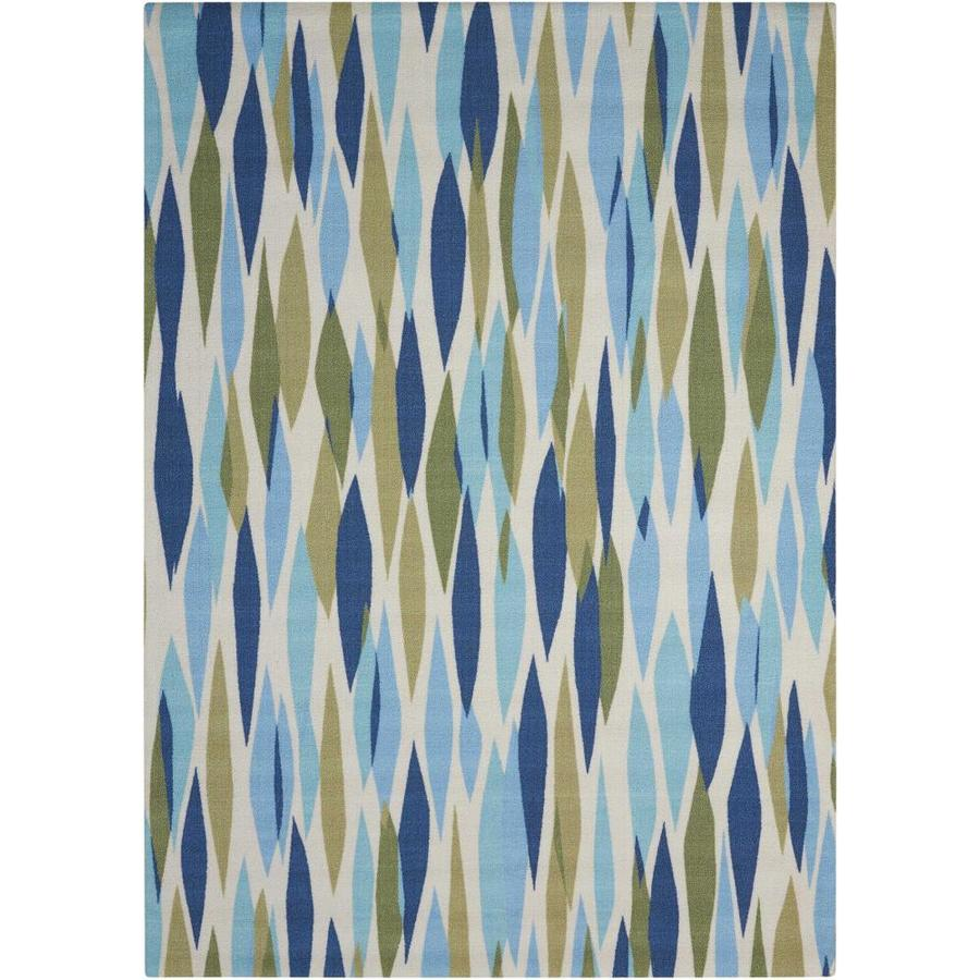 Waverly Sun and Shade Sea Glass Rectangular Indoor/Outdoor Machine-Made Novelty Area Rug (Common: 5 x 7; Actual: 5.3-ft W x 7.5-ft L)