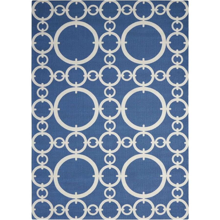 Waverly Sun and Shade Navy Rectangular Indoor/Outdoor Machine-Made Novelty Area Rug (Common: 8 x 10; Actual: 7.9-ft W x 10.1-ft L)