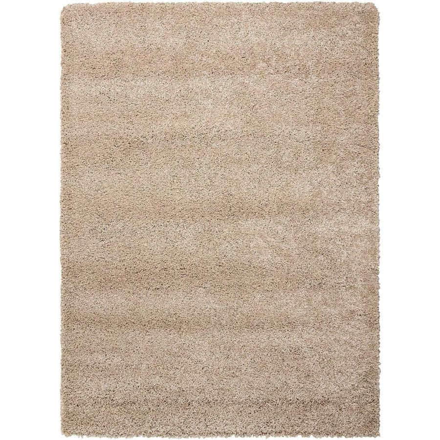 Nourison AMORE Oyster  Indoor  Shag Area Rug (Common: 4 x 6; Actual: 3-ft W x 5-ft L x 1-ft dia)