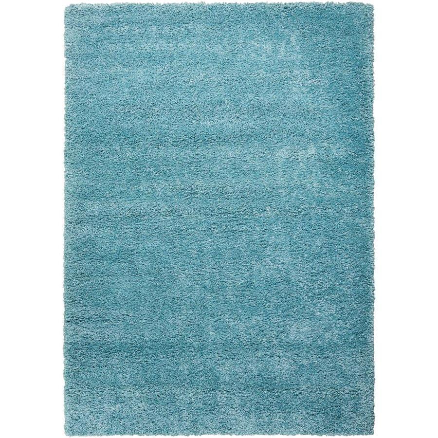 Nourison Amore Aqua Rectangular Indoor Area Rug (Common: 3 x 5; Actual: 3.92-ft W x 5.92-ft L x 1.5-ft dia)
