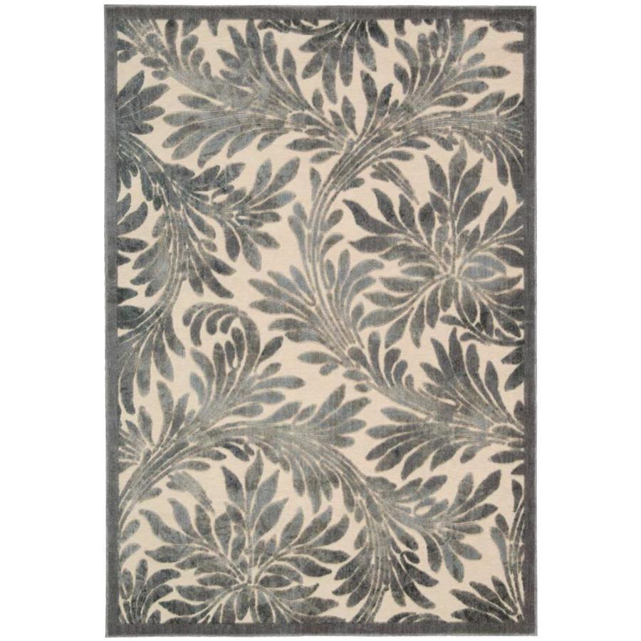 Nourison Graphic Illusions Ivory Rectangular Indoor Area Rug (Common: 8 x 10; Actual: 7.75-ft W x 10.83-ft L x 0.5-ft dia)