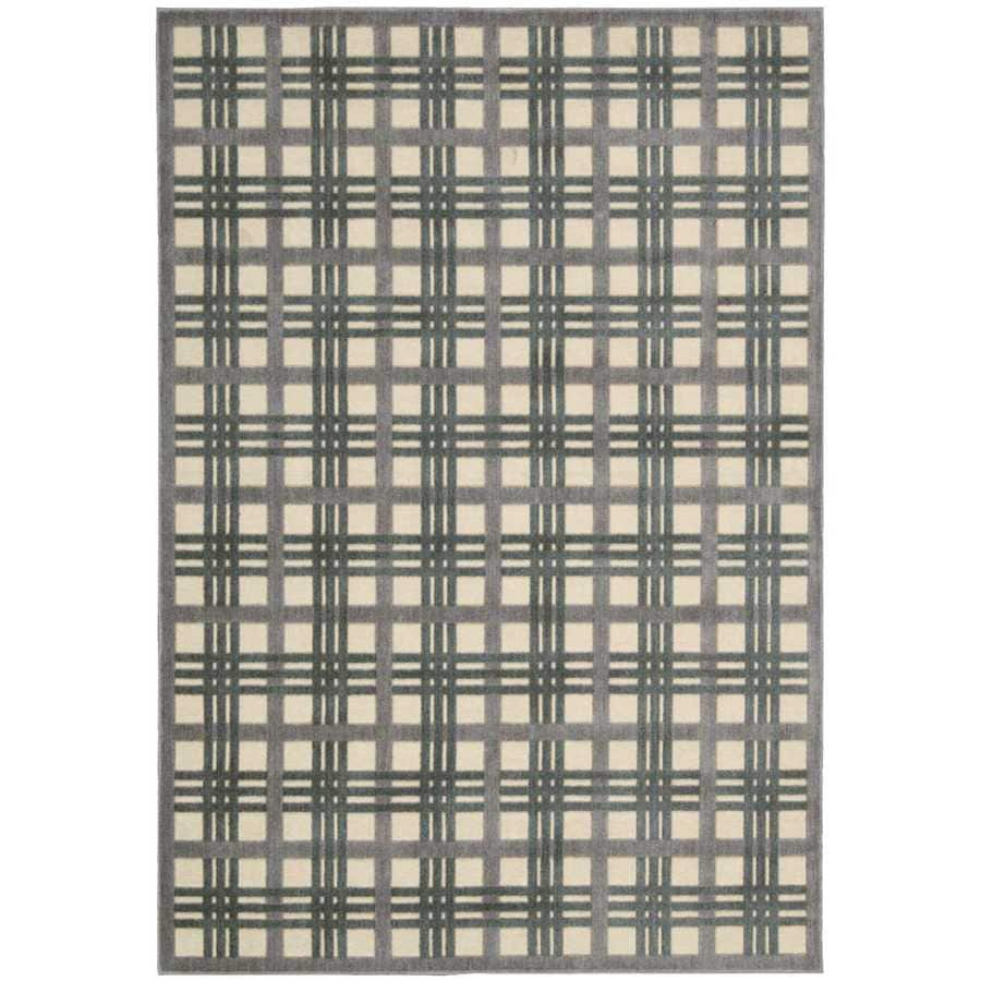 Nourison Graphic Illusions Ivory/Taupe Indoor Area Rug (Common: 5 x 7; Actual: 5.25-ft W x 7.4167-ft L)