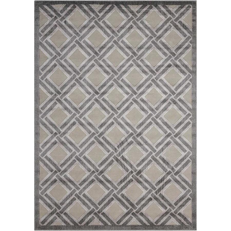 Nourison Graphic Illusions Gray Indoor Area Rug (Common: 5 x 7; Actual: 5.25-ft W x 7.4167-ft L)