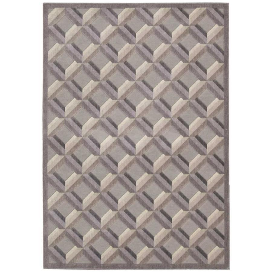 Nourison Graphic Illusions Stone Indoor Area Rug (Common: 8 x 10; Actual: 7.75-ft W x 10.83-ft L x 0.7-ft dia)