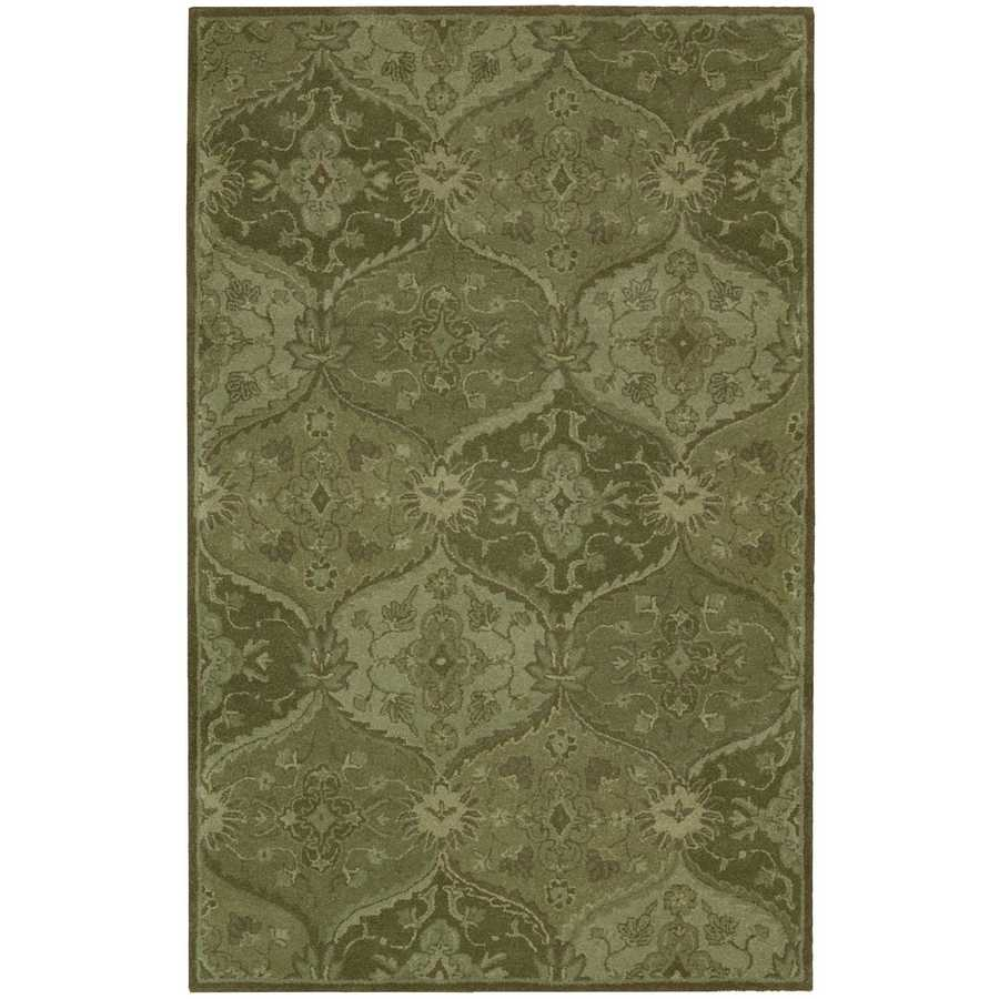 Nourison India House Green Indoor Handcrafted Area Rug (Common: 3 x 5; Actual: 3.5-ft W x 5.5-ft L)