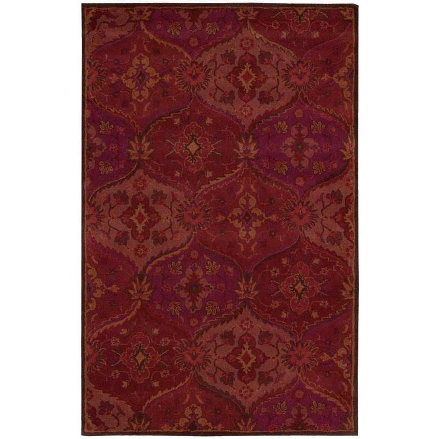 Nourison India House Red Rectangular Indoor Handcrafted Area Rug (Common: 3 x 5; Actual: 3.5-ft W x 5.5-ft L x 0.5-ft dia)