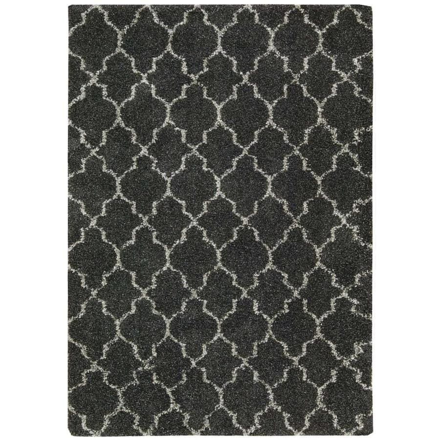 Nourison Amore Charcoal Indoor Area Rug (Common: 3 x 5; Actual: 3.92-ft W x 5.92-ft L x 1.5-ft dia)