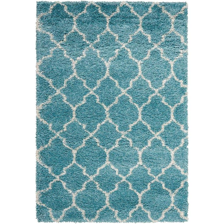 Nourison Amore Aqua Indoor Area Rug (Common: 3 x 5; Actual: 3.92-ft W x 5.92-ft L x 1.5-ft dia)