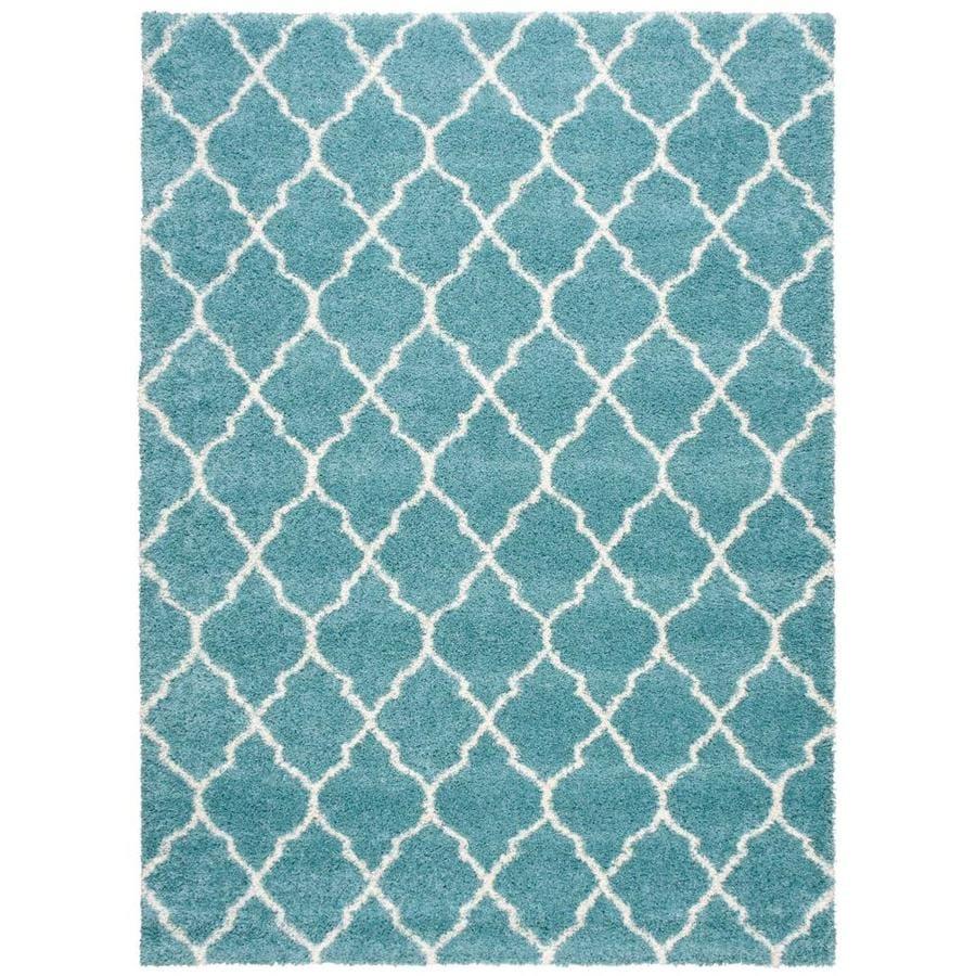 Nourison Amore Aqua Rectangular Indoor Area Rug (Common: 8 x 10; Actual: 7.83-ft W x 10.83-ft L x 1.5-ft dia)