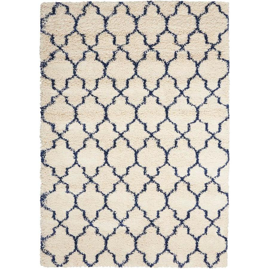 Nourison Amore Ivory/Blue Indoor Area Rug (Common: 8 x 10; Actual: 7.83-ft W x 10.83-ft L x 1.5-ft dia)