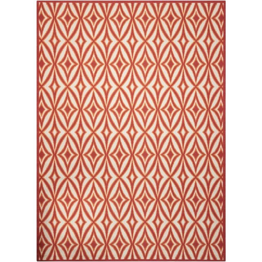 Waverly Sun and Shade Campari Rectangular Indoor/Outdoor Machine-Made Area Rug (Common: 10 x 13; Actual: 120-in W x 156-in L)