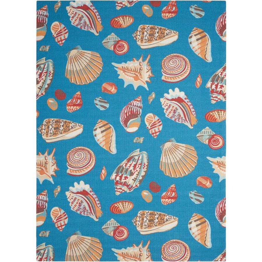 Waverly Sun and Shade Azure Rectangular Indoor/Outdoor Machine-Made Coastal Area Rug (Common: 5 x 7; Actual: 5.3-ft W x 7.5-ft L)