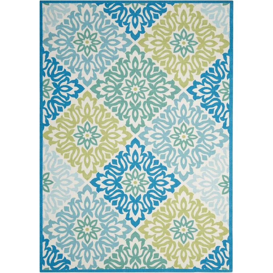 Waverly Sun and Shade Marine Rectangular Indoor/Outdoor Machine-Made Area Rug (Common: 5 x 7; Actual: 63-in W x 89-in L)