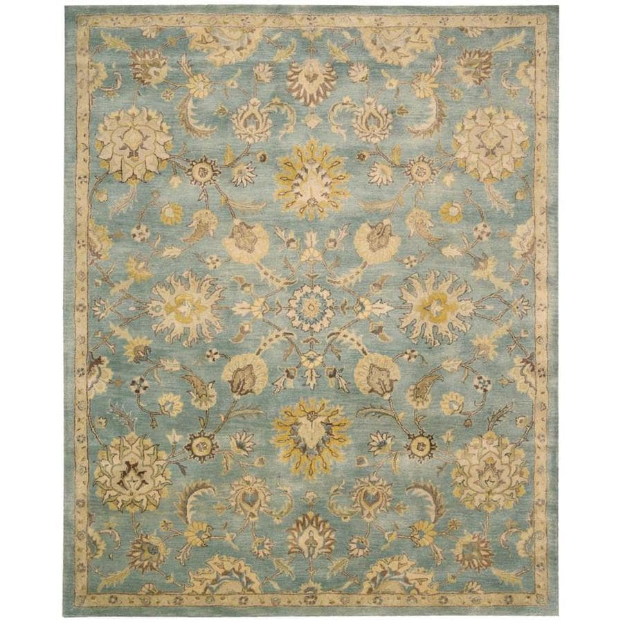 Nourison Jaipur Light Blue Indoor Handcrafted Area Rug (Common: 5 x 7; Actual: 5.5-ft W x 8.5-ft L)