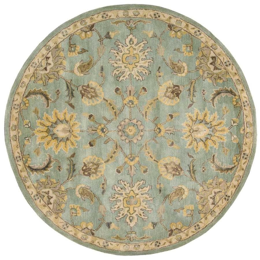 Nourison Jaipur Light Blue Round Indoor Handcrafted Area Rug (Common: 6 x 6; Actual: 6-ft W x 6-ft L x 0.75-ft dia)