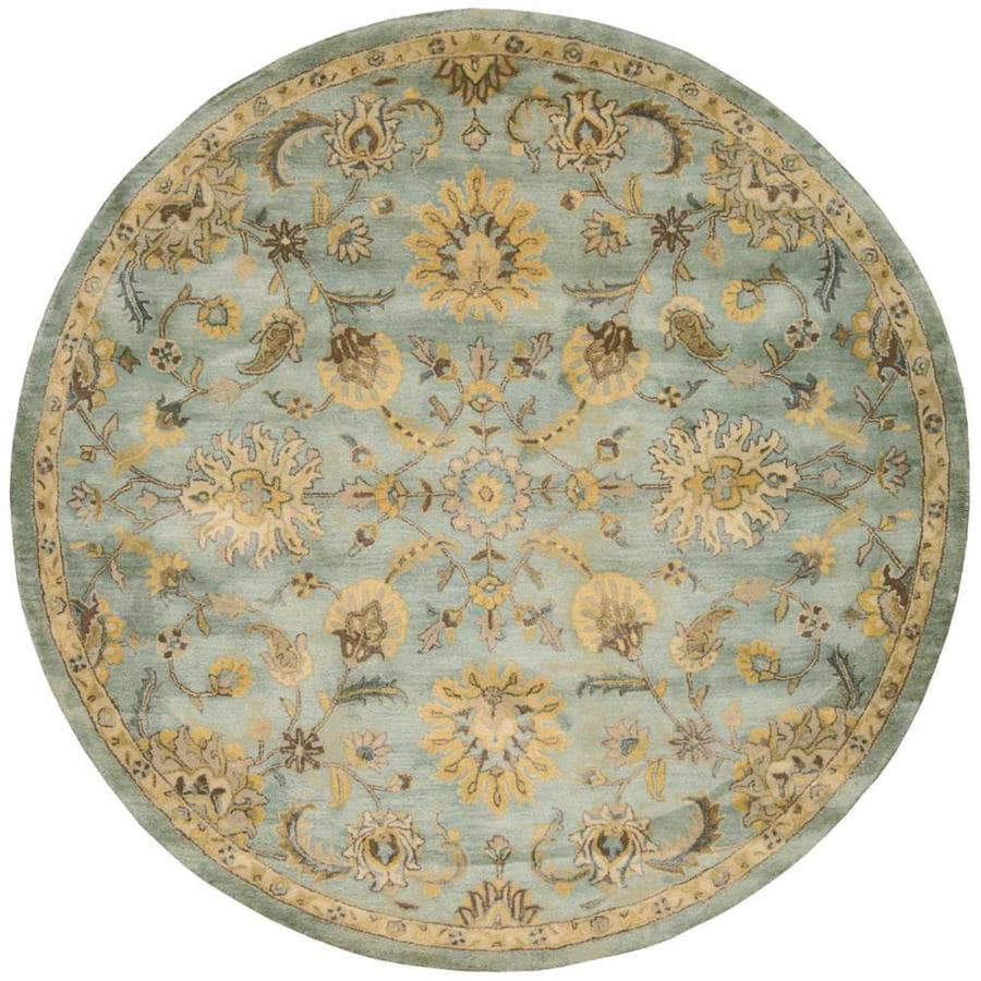 Nourison Jaipur Light Blue Round Indoor Handcrafted Area Rug (Common: 8 x 8; Actual: 8-ft W x 8-ft L x 0.75-ft dia)