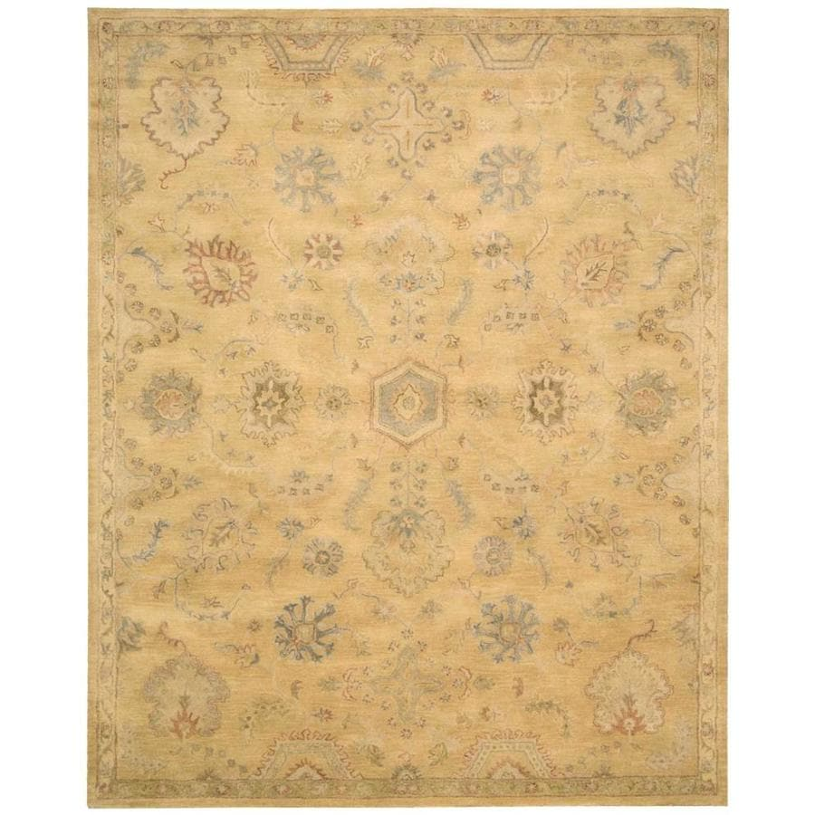 Nourison Jaipur Light Yellow Rectangular Indoor Handcrafted Area Rug (Common: 5 x 7; Actual: 5.5-ft W x 8.5-ft L x 0.75-ft dia)